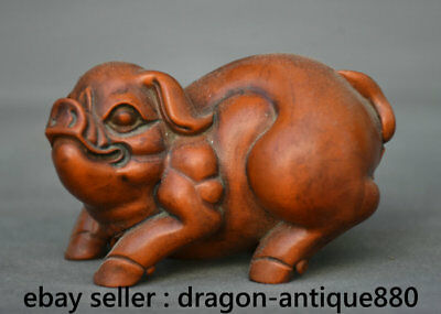 "2.6"" Old Chinese Boxwood Carved Feng Shui 12 Zodiac Year Pig Statue Sculpture"