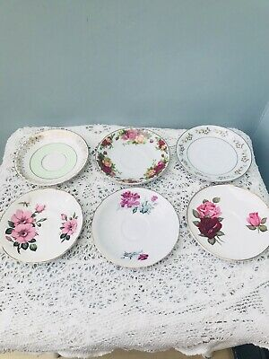 Saucers Set of 6 China Mismatched Vintage Shabby Chic Wedding Tea Party