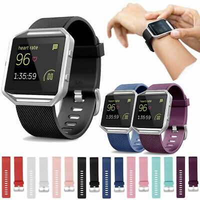 Silicone Wrist Band Strap Bracelet + Metal Frame Replacement For Fitbit Blaze AU