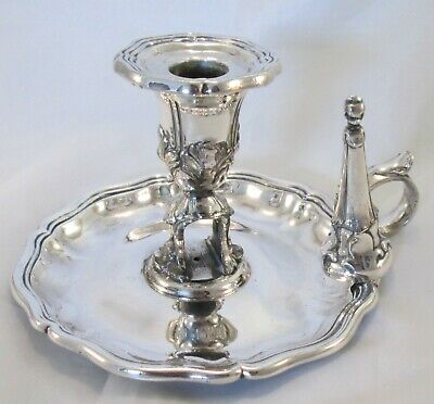 A Fine Silver Plate 19th Century Chamber Candlestick with Unusual Snuffer