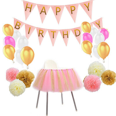 Vintage Birthday Party Decoration Set & Tutu Chair Skirt Girls Baby