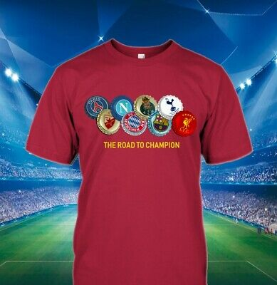The Road to MADRID T-Shirt Champions 2019 Bottle Tops Made in Liverpool M-3XL