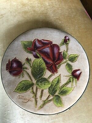 c1930s Vintage French Hand Painted Velvet Chocolate Box. Signed C Mangin.