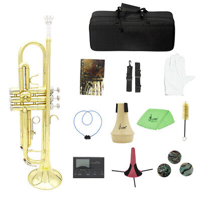 Brass Trumpet Bb B Flat with Mouthpiece Carry Bag Tuner Mute Trumpet Stand H5S4