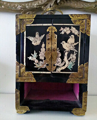 Antique Old Chinese Lacquer Mother Of Pearl Inlay Jewellery Box Miniature Chest