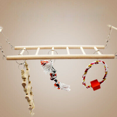 1xPet Bird Wood Ladder Climb Parrot Macaw Cage Swing Shelf Parrot Bites Play Toy