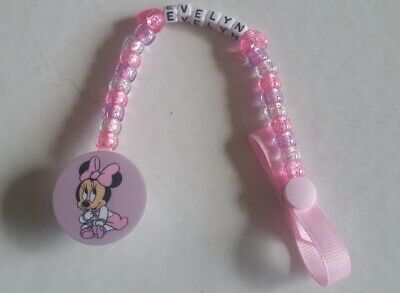 Baby Girl Minnie Mouse Bling Personalised Dummy/Pacifier Saver Holder Clip