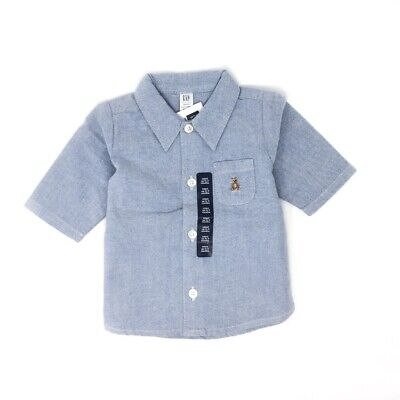 Nwt New With Tag Baby Gap Long Sleeve Oxford Button Shirt Chambray Blue 6-12