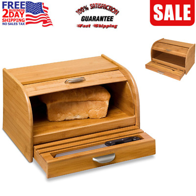 Wood Bread Box Bamboo Roll Top Storage Kitchen Countertop Along Portable NEW