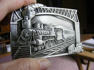 Vintage Bergamot Brass Works Pewter Made in USA Train Belt Buckle 1983