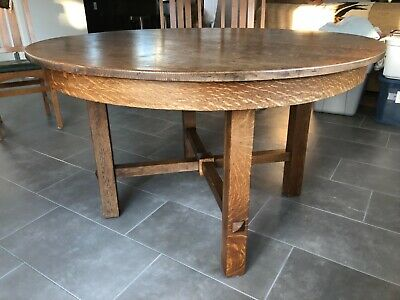 Antique Stickley Brothers Arts & Crafts Round Quartersawn Oak Dining Table