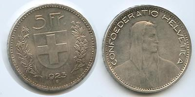 GS143 - Switzerland 5 Francs 1923 KM# 37 Scarce Condition Silver Helvetia