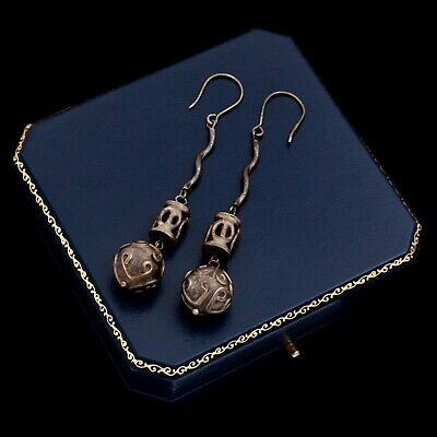 "Antique Vintage Art Deco Retro Sterling Silver Etruscan 3.13"" L Womens Earrings"
