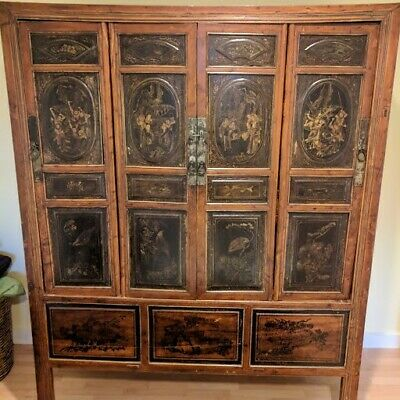 Antique Linhai Painted Chinese Cabinet