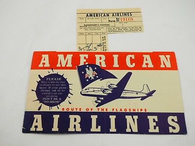 American Airline Ticket and Jacket 1947