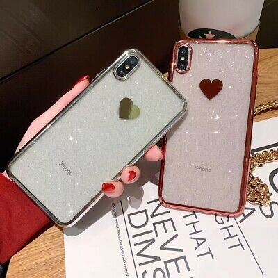Bling Glitter Clear Plating Heart Pattern Soft Case Cover For iPhone 6S 7 8 Plus
