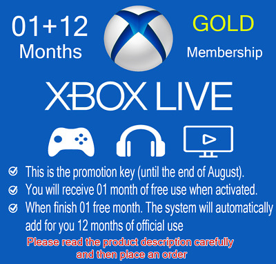 GLOBAL Xbox Live GOLD Subscription Card 01 Month free + 12 Months 🔐Lisence Key