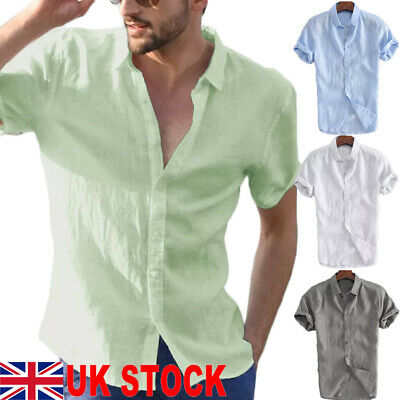 UK Mens Linen Short Sleeve Summer Solid Shirts Casual Loose Dress Soft Tops Tee