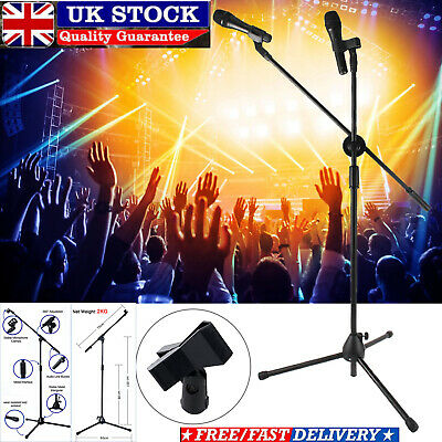 Professional Boom Microphone Mic Stand Holder Adjustable + 2 Free Clips UKU1