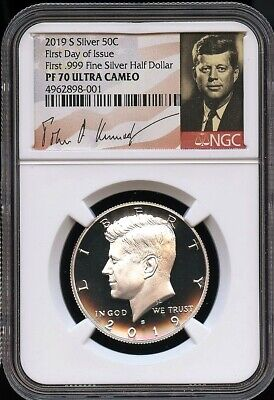 2019 S First .999 Fine Silver 50C FIRST DAY OF ISSUE NGC PF70 U.C. SIGNATURE