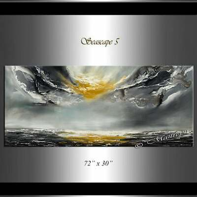 Golden Sunshine on clouds, Reflecting on Ocean, Seascape Abstract Modern Art