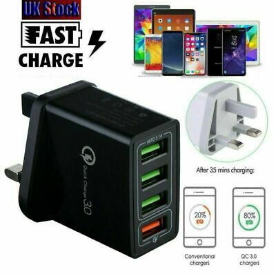 4 Multi-Port Fast Quick Charge QC 3.0 USB Hub Wall Charger Adapter Plug UK Black