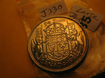 1953 Canada 50 Cent Silver Coin Large Date Variety IDJ330.