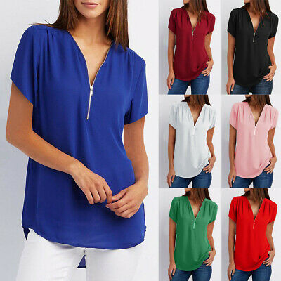 Femme Casual Manches Courtes Filles V Col Zipper Loose T-shirts Blouse Tops