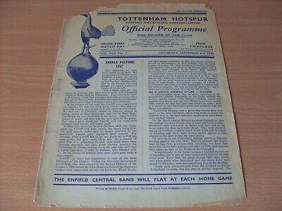Tottenham Res v Watford Res programme dated 3-9-1949.  (508)