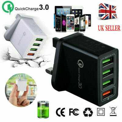 4 Port Fast Qualcomm Quick Charge QC 3.0 USB Hub Wall Charger Adapter UK Plug