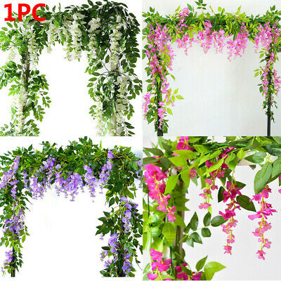 7FT Artificial Flowers Fake Ivy Vine Wisteria Plant Home Hanging Garland UK