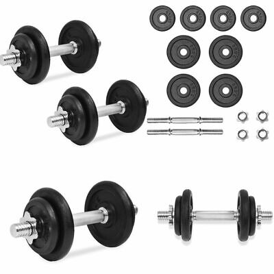 20KG Adjustable Cast Iron Dumbbell / Barbell Set For Weight Lifting Training New