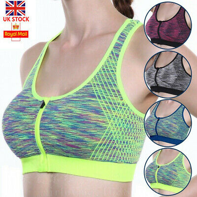 Womens Sports Bra Front Zip High Impact Push Up Wireless Padded Vest Tank Top