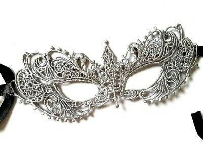 Silver Painted Soft Mask Party Masquerade Dress Ball FAST FREE POST MARDI GRAS