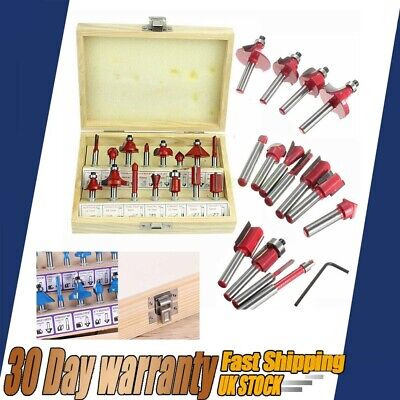 "15x Tungsten Carbide Tipped TCT Router Bits 1/4""Shank Sealed Bearing Bit Set HOT"