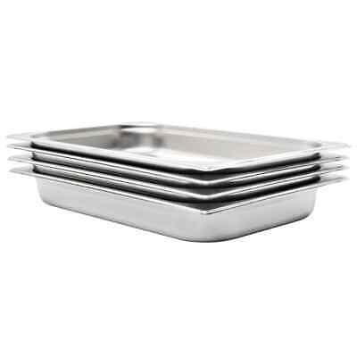 vidaXL 4x Gastronorm Containers GN 1/1 65mm Stainless Steel Stackable Tray Pan