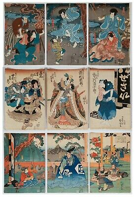 Set of 3 Kuniyoshi Triptychs, Original Japanese Woodblock Print, Art, Ukiyo-e