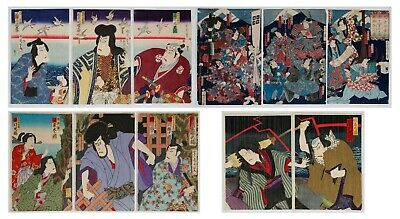 Set of 4 Kunichika Designs, Original Japanese Woodblock Print, Art, Ukiyo-e