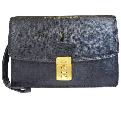 64dfa27b16d Authentic BALLY Logos Clutch Hand Bag Leather Black Made In Italy 01EJ208