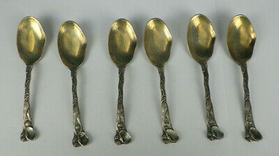 6 Sterling Silver Oyster Clam Shell Spoons Gold Wash Bowls Wallace c1885