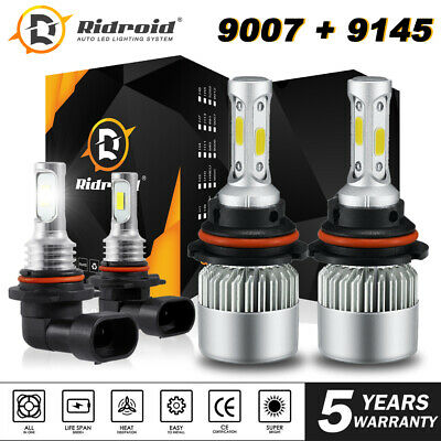 LED Headlight HB5 9007 + 9145 H10 Fog Light Bulbs Kit for Ford Ranger 2001-2011