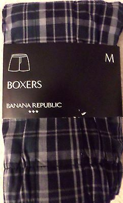 Men's Size Medium 32-34 Banana Republic Cotton Boxers Plaid Design Nwt