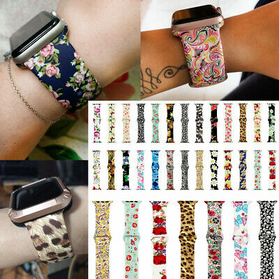 For iWatch Serie 4 3 2 1 Wrist Strap 38-44mm Flower Floral Silicone Sport Band