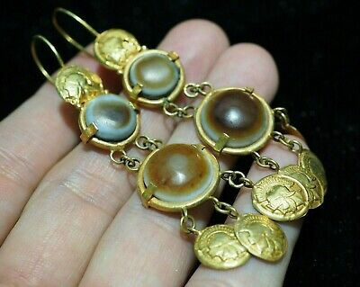 Ancient ROMAN GOLD AND EYE AGATE Earring Genuien Solid 18 K Gold Knight Coins