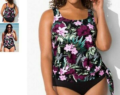 37f5f15bde762 SWIMSUITS FOR ALL side tie blouson swimsuit swim tankini TOP 12 print r2