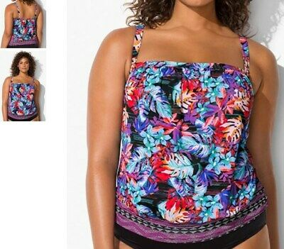 8c436bb027 plus size swimsuits for all MAUI blouson tankini swimsuit TOP 20 floral o5