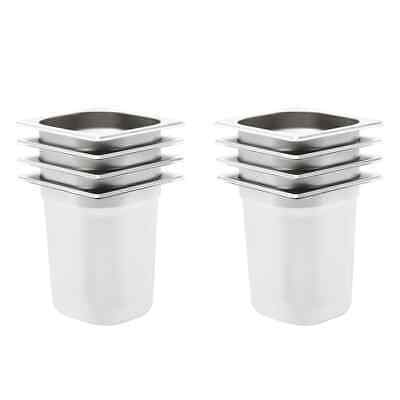 vidaXL 8x Gastronorm Containers GN 1/6 200mm Stainless Steel Stackable Tray