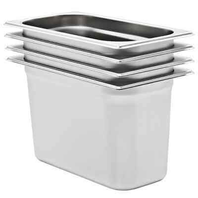 vidaXL 4x Gastronorm Containers GN 1/3 200mm Stainless Steel Stackable Tray