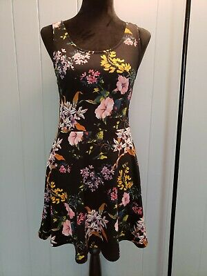 9b98febd2157 Divided H&M Black Floral Mini Dress Boho Summer Flare Low Back Sexy Beach 8  MD
