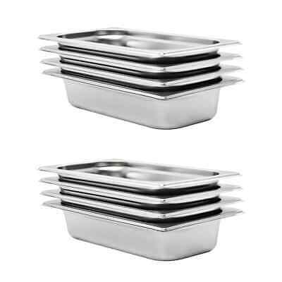 vidaXL 8x Gastronorm Containers GN 1/3 65mm Stainless Steel Stackable Tray